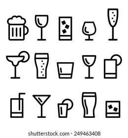 Drink alcohol beverage vector line icons set