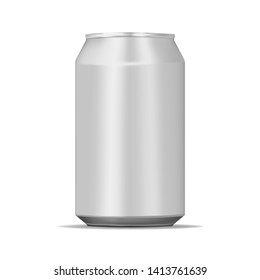 Drink aluminum can 330 ml isolated on white background, realistic mock-up. Blank beverage packaging, vector template for design.