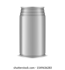 Drink aluminum can with ribbed top isolated on white background, realistic mockup. Blank beverage package, vector template for design.