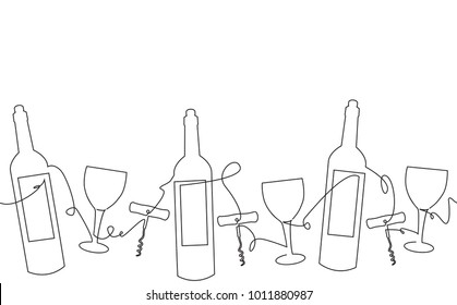Drink Background. Pattern with Bottles, Glasses. Continuous drawing. One line style. Vector illustration.