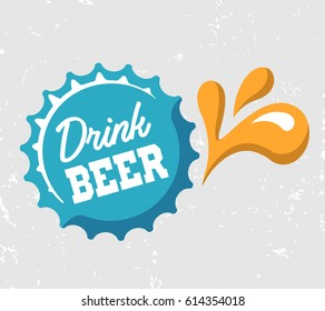 Drink BEER. Words on the beer bottle cap. Splashes and drops. Vector illustration.