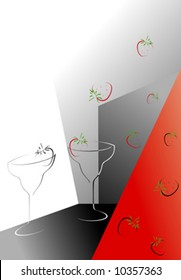 Drink black and red abstract background with strawberry.