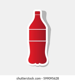 Drink bottle sign. Vector. New year reddish icon with outside stroke and gray shadow on light gray background.
