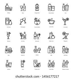 Drink and Cocktail Line Icons Pack