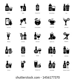 Drink And Cocktail Solid Icons Pack