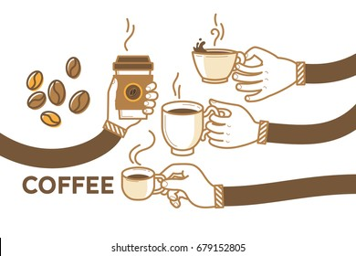 Drink coffee with friends vector illustration. Brew, cappuccino, espresso, beans. Have a break and human hands with a cup os hot coffee. Flat retro style. Enjoy your free time. Good morning.