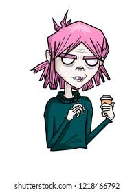 Drink coffee on gorillaz style