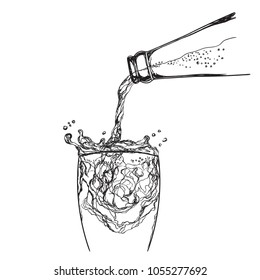 Drink, cola, water, lemonade or wine pouring from a bottle into glass. Hand drawn vector illustration, isolated on white.