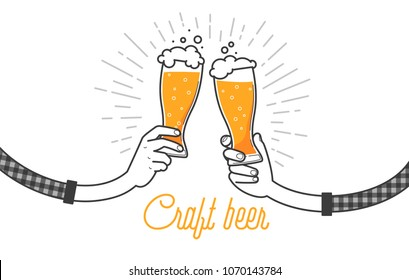 Drink craft beer with a friend, clink glasses. Two hands holding two glasses of beers in plaid shirt. Vector illustration, isolated on white background. Menu or restaurant illustration design