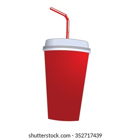Drink Cup - Red and White with Straw and Lid Cartoon Vector