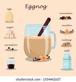 Drink Eggnog and a set of ingredients for its preparation-egg, vanilla, cinnamon, cloves, milk, sugar, nutmeg, rum. Stock vector graphics.