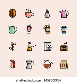 drink and food icon set