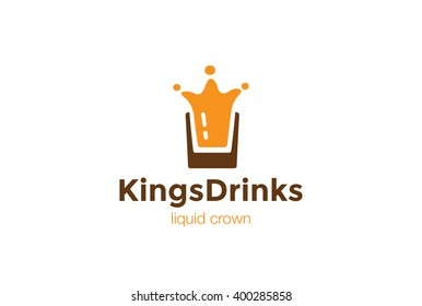Drink Glass Splash as Crown Logo design vector template. Liquid alcoholic Logotype concept icon