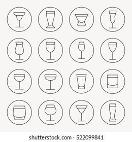 Drink glasses thin line icon set