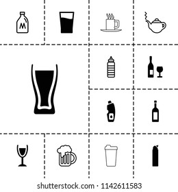 Drink icon. collection of 13 drink filled and outline icons such as cleanser, wine glass and bottle, milk can, teapot, fitness bottle. editable drink icons for web and mobile.