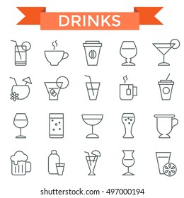 Drink icon set, thin line, flat design