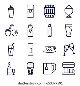 Drink icons set. set of 16 drink outline icons such as vending machine, barrel, cleanser, tea cup, milkshake, cup with heart, soda, wine glass and bottle, coffee machine