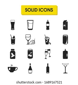 Drink icons set with cheers, wheat beer glass and beverage elements. Set of drink icons and cold cappuccino concept. Editable vector elements for logo app UI design.