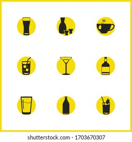 Drink icons set with soda, whiskey bottle and wheat beer glass elements. Set of drink icons and rice wine concept. Editable vector elements for logo app UI design.