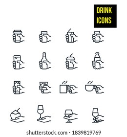 Drink Icons stock illustration  Hand, Coffee - Drink, Wine, Holding