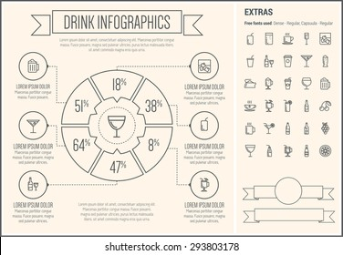 Drink infographic template and elements. The template includes the following set of icons - coffe, juice, water, cold, ice, hot, choco, cocktail, beer, cherry, tea, soda and more. Modern minimalistic