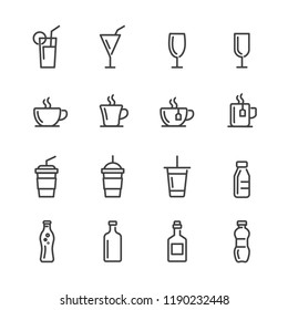 Drink lines icon set