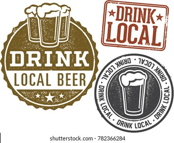 Drink Local Brewery Beer Stamps