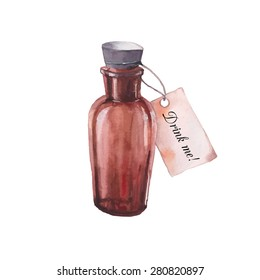 Drink me. Watercolor vintage bottle with antique paper label. Hand drawn vector illustration isolated on white background. Wonderland story element