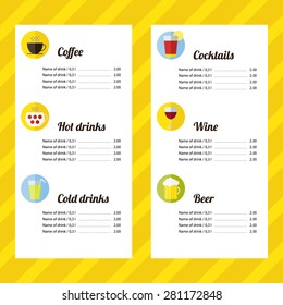 Drink menu template with icons in flat design.