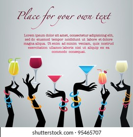 drink with me,vector commercial background with images of drinks and hands