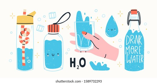 Drink more water. Glass only. Plastic free, zero waste concept. Various bottles, glass, flusk. Hand drawn cute trendy vector illustartion. All elements are isolated