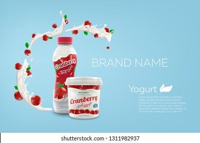 Drink nonfat yogurt bottle and jar of greek yogurt with cranberry taste and flavor, commercial vector advertising brandig ready yogurt packaging mock-up realistic illustration