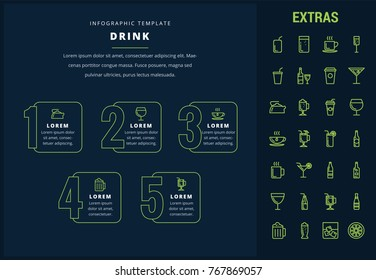 Drink options infographic template, elements and icons. Infograph includes line icon set with bar drinks, alcohol beverages, hot drinks, variety of glasses and bottles, non-alcoholic beverages etc.