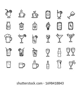 Drink Set Icon Design Vector. Pixel Perfect