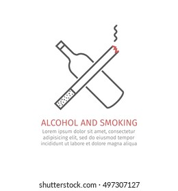 Drink and smoke line icon