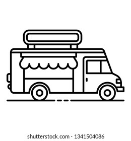 Drink street truck icon. Outline drink street truck vector icon for web design isolated on white background