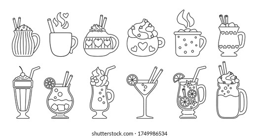 Drink summer flat line set. Black linear cartoon beverages hot and fresh. Cute mugs cocoa, coffee milk, cream and mulled wine, alcohol. Party drinks decorated candy, marshmallow. Vector illustration