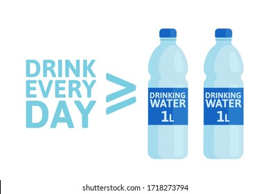 Drink two or more liters of clean fresh water every day. Daily rate of drinking water. Healthy lifestyle. Vector illustration, flat design, infographics banner, poster. Isolated on white background.