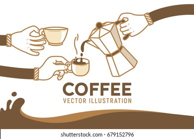 Drinking coffee with friends vector illustration. Coffee break and human hands with a cup os hot coffee. Flat retro style on white background