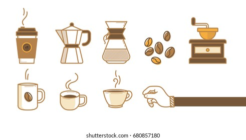 Drinking coffee icons vector illustration on white background. Drink a cup of hot coffee set. Thin line icons, hand and beans in flat design