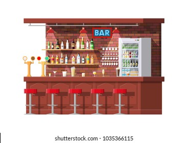 Drinking establishment. Interior of pub, cafe or bar. Bar counter, chairs and shelves with alcohol bottles, refrigerator. Glasses and lamp. Wooden decor. Vector illustration in flat style.