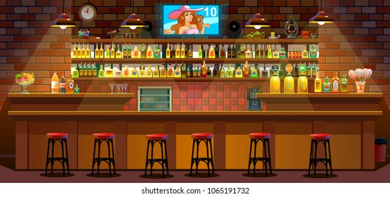 Drinking establishment. Interior of pub, cafe or bar. Bar counter, chairs and shelves with alcohol bottles. Glasses and lamp
