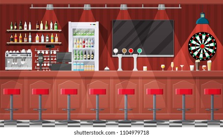 Drinking establishment. Interior of pub, cafe or bar. Bar counter, chairs and shelves with alcohol bottles. Glasses, tv, dart, fridge and lamp. Wooden decor. Vector illustration in flat style.