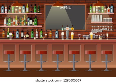 Drinking establishment. Interior of pub, cafe or bar. Bar counter, chairs and shelves with alcohol bottles. Glasses, tv, dart, fridge and lamp. Wooden decor. Vector illustration in flat style