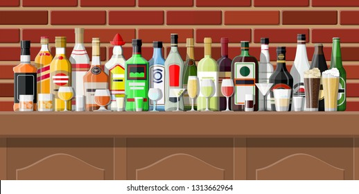 Drinking establishment. Interior of pub, cafe or bar. Bar counter, shelves with alcohol bottles. Wooden and brick decor. Vector illustration in flat style