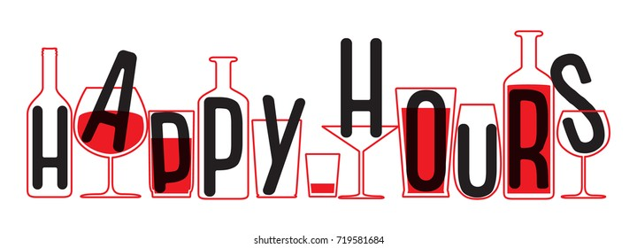 Drinking glass and bottles silhouettes. Vector Illustration of happy hours.