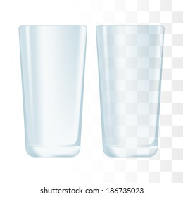Drinking glass cup. Transparent glass.