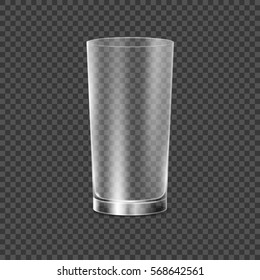Drinking glass cup. Transparent vector glass illustration. Restaurant object for drink alcohol, water or any liquid. Empty crystal realistic glass cup