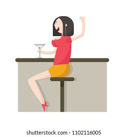 Drinking lady sit in Bar. Funny Cartoon Character