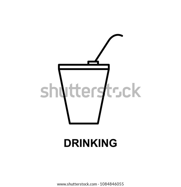 drinking in plastic cup icon. Element of cinema for mobile concept and web apps. Thin line drinking in plastic cup icon can be used for web and mobile. Premium icon on white background
